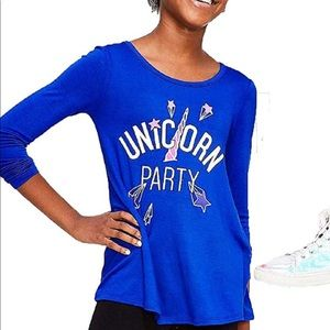 Justice long sleeve Unicorn Party shirt tunic top